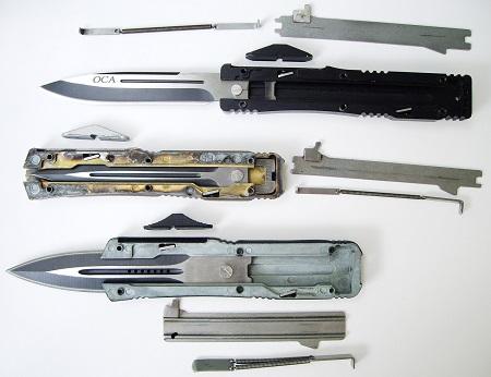 Выкидной нож с фронтальным